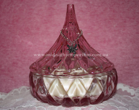 Pink Pointed Glass Trinket Box Candle