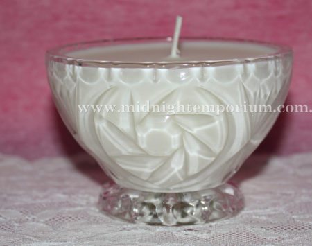 Small Round Cut Glass Bowl Trinket Candle